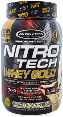 Suplementos, Proteína De Suero, Deportes Muscletech, Nitro Tech, 100% Whey Gold, Cookies And Cream, 2.20 lbs (999 g)