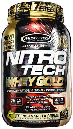 Deportes, Muscletech Nitro Tech Muscletech, Nitro Tech, 100% Whey Gold, French Vanilla Creme, 2.20 lbs (999 g)