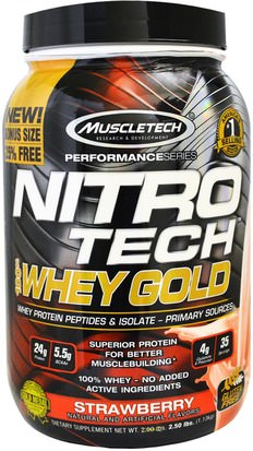 Deportes Muscletech, Nitro Tech, 100% Whey Gold, Strawberry, 2.20 lbs (999 g)