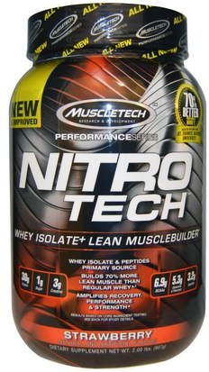 Deportes, Muscletech Nitro Tech Muscletech, Nitro-Tech, Performance Series, Whey Isolate+ Lean Musclebuilder, Strawberry, 2 lbs (907 g)