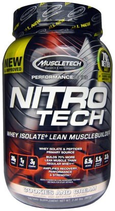 Deportes, Muscletech Nitro Tech Muscletech, Nitro-Tech, Whey Isolate + Lean Muscle Builder, Cookies and Cream, 2.00 lbs (907 g)
