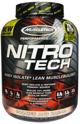 Deportes, Muscletech Nitro Tech Muscletech, Nitro Tech, Whey Isolate + Lean Musclebuilder, Cookies and Cream, 3.97 lbs (1.80 kg)