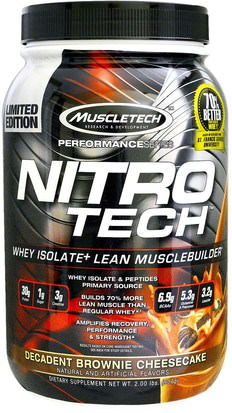 Deportes, Muscletech Nitro Tech Muscletech, Nitro-Tech, Whey Isolate + Lean Musclebuilder, Decadent Brownie Cheesecake, 2.00 lbs (907 g)