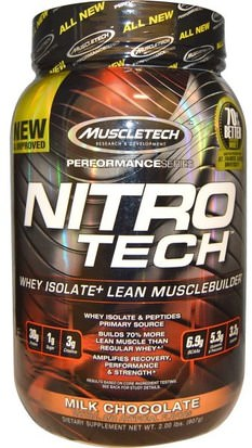 Deportes, Muscletech Nitro Tech Muscletech, Nitro Tech, Whey Isolate+ Lean Musclebuilder, Milk Chocolate, 2.00 lbs (907 g)