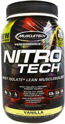 Deportes, Muscletech Nitro Tech Muscletech, Nitro Tech, Whey Isolate+ Lean MuscleBuilder, Vanilla, 2.00 lbs (907 g)