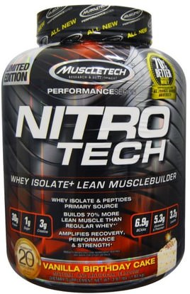 Deportes, Muscletech Nitro Tech Muscletech, Nitro Tech, Whey Isolate+ Lean Musclebuilding, Vanilla Birthday Cake, 3.97 lbs (1.80 kg)
