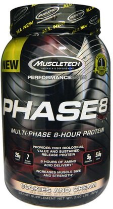 Deportes, Deporte Muscletech, Performance Series, Phase8, Multi-Phase 8-Hour Protein, Cookies and Cream, 2.00 lbs (907 g)