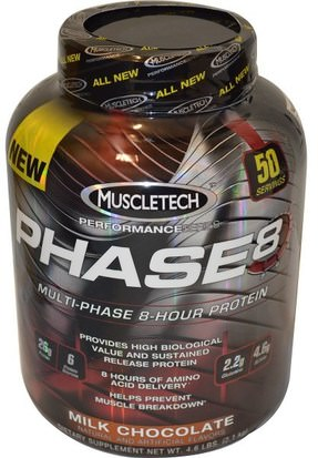 Deportes, Entrenamiento Muscletech, Performance Series, Phase8, Multi-Phase 8-Hour Protein, Milk Chocolate, 4.60 lbs (2.09 kg)
