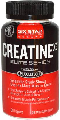 Deportes, Creatina Six Star, Six Star Pro Nutrition, Creatine X3, Elite Series, 60 Caplets