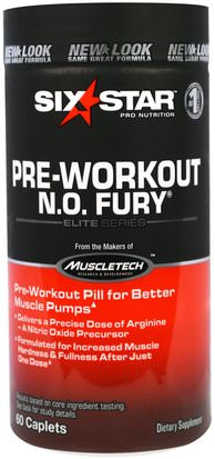 Deportes, Entrenamiento Six Star, Six Star Pro Nutrition, Pre-Workout, N.O. Fury, Elite Series, 60 Caplets