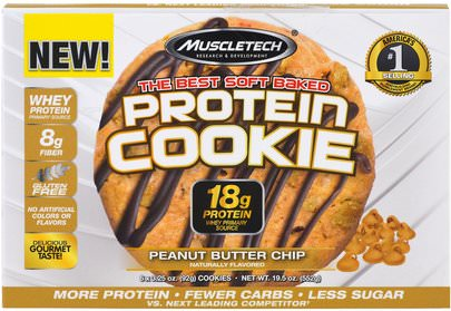 Deportes Muscletech, The Best Soft Baked Protein Cookie, Peanut Butter Chip, 6 Cookies, 3.25 oz (92 g) Each