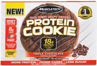 Deportes Muscletech, The Best Soft Baked Protein Cookie, Triple Chocolate, 6 Cookies, 3.25 oz (92 g) Each