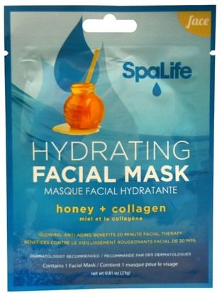 Belleza, Máscaras Faciales, Máscaras De Láminas My Spa Life, SpaLife, Hydrating Facial Mask, Face, 1 Facial Mask, 0.81 oz (23 g)