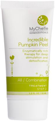 Belleza, Cuidado Facial, Piel, Máscaras Faciales, Azúcar, Máscaras De Frutas MyChelle Dermaceuticals, Incredible Pumpkin Peel, All / Combination, Step 2, Treatment, 1.2 fl oz (35 ml)
