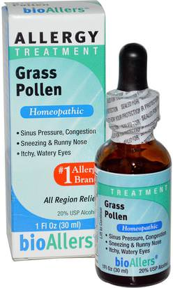 Suplementos, Homeopatía, Alergias, Alergia NatraBio, bioAllers, Allergy Treatment, Grass Pollen, 1 fl oz (30 ml)