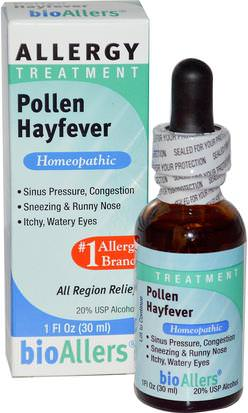 Suplementos, Homeopatía, Alergias, Alergia NatraBio, bioAllers, Allergy Treatment, Pollen Hayfever, 1 fl oz (30 ml)