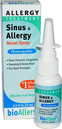 Suplementos, Homeopatía, Alergias, Alergia NatraBio, BioAllers, Sinus & Allergy Nasal Spray, Allergy Treatment, 0.8 fl oz (24 ml)