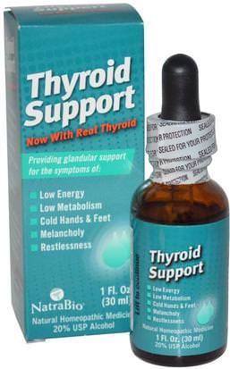 Suplementos, Homeopatía, Salud, Tiroides NatraBio, Thyroid Support, 1 fl oz (30 ml)