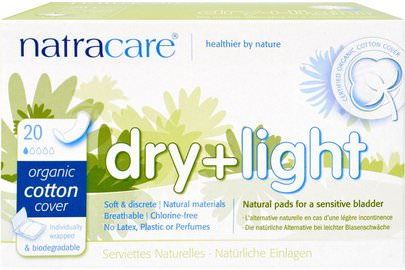 Salud, Mujer, Mujer Natracare, Dry + Light, Organic Cotton Cover, 20 Individually Wrapped Pads