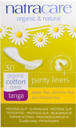 Salud, Mujeres Natracare, Panty Liners, Organic Cotton Cover, Tanga, 30 Liners