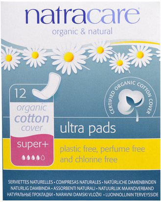 Salud, Mujeres Natracare, Ultra Pads, Organic Cotton Cover, Super+, 12 Pads