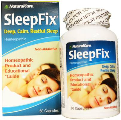 Suplementos, Dormir, Melatonina Natural Care, SleepFix, 60 Capsules