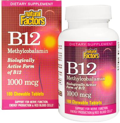 Vitaminas, Vitamina B, Vitamina B12, Vitamina B12 - Metilcobalamina Natural Factors, B12, Methylcobalamin, 1000 mcg, 180 Chewable Tablets