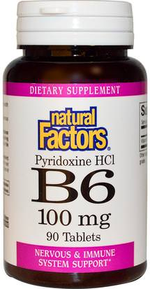 Vitaminas, Vitamina B, Vitamina B6 - Piridoxina Natural Factors, B6, Pyridoxine HCl, 100 mg, 90 Tablets