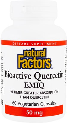 Salud, Alergias, Alergia Natural Factors, Biaoctive Quercetin EMIQ, 50 mg, 60 Veggie Caps
