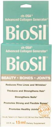 Salud, Hueso, Osteoporosis, Colágeno, Suplementos, Minerales, Sílice (Silicio) Natural Factors, BioSil, ch-OSA Advanced Collagen Generator, 0.5 fl oz (15 ml)