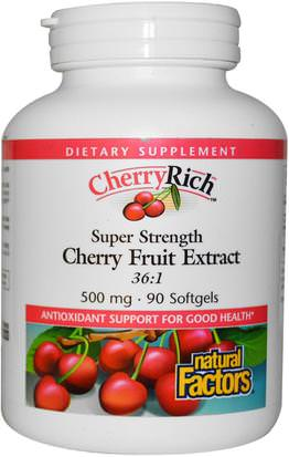 Suplementos, Antioxidantes, Extractos De Frutas, Cereza (Fruta Negra Silvestre) Natural Factors, CherryRich, Super Strength Cherry Fruit Extract, 500 mg, 90 Softgels