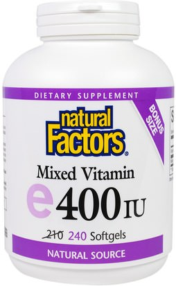 Vitaminas, Vitamina E Natural Factors, Mixed E, 400 IU, 240 Softgels