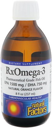 Suplementos, Efa Omega 3 6 9 (Epa Dha), Dha, Epa Natural Factors, Rx Omega-3, Natural Orange Flavor, 8 fl oz (237 ml)