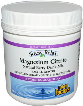 Suplementos, Minerales, Citrato De Magnesio, Salud, Anti Estrés Natural Factors, Stress-Relax, Magnesium Citrate, Natural Berry Drink Mix, 8.8 oz (250 g) Powder