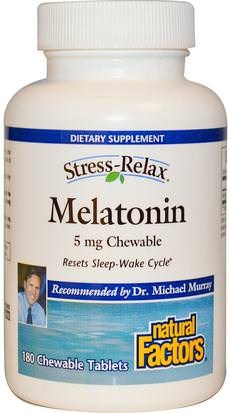 Suplementos, Melatonina 5 Mg Natural Factors, Stress-Relax, Melatonin, 5 mg, 180 Chewable Tablets