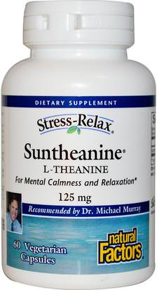 Suplementos, L Theanine, Salud, Ansiedad Natural Factors, Stress-Relax, Suntheanine, L-Theanine, 125 mg, 60 Vegetarian Capsules