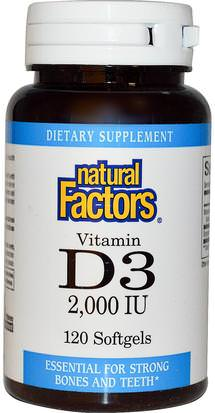 Vitaminas, Vitamina D3 Natural Factors, Vitamin D3, 2000 IU, 120 Softgels