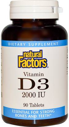 Vitaminas, Vitamina D3 Natural Factors, Vitamin D3, 2000 IU, 90 Tablets