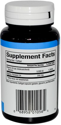 Vitaminas, Vitamina D3 Natural Factors, Vitamin D3, 5000 IU, 120 Softgels
