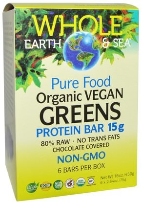 Deportes, Barras De Proteína Natural Factors, Whole Earth & Sea, Pure Food Organic Vegan Greens Protein Bars, Chocolate Covered, 6 Bars, 2.64 oz (75 g) Each