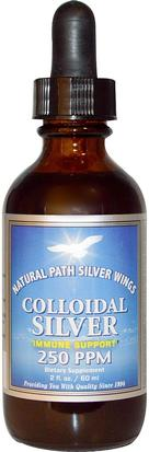 Suplementos, Plata Coloidal Natural Path Silver Wings, Colloidal Silver, 250 ppm, 2 fl oz (60 ml)