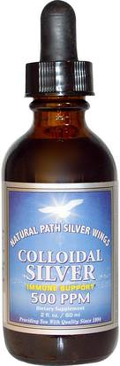 Suplementos, Plata Coloidal Natural Path Silver Wings, Colloidal Silver, 500 PPM, 2 fl oz (60 ml)