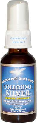 Suplementos, Minerales, Plata Coloidal Natural Path Silver Wings, Colloidal Silver, Herbal Tincture Spray, 150 PPM, 1 fl oz (30 ml)