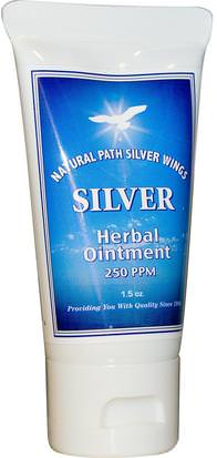 Suplementos, Plata Coloidal, Piel Natural Path Silver Wings, Silver Herbal Ointment, 250 PPM, 1.5 oz