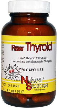 Suplementos, Productos Bovinos, Salud, Tiroides Natural Sources, Raw Thyroid, 60 Capsules