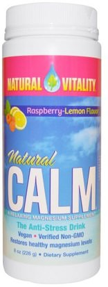 Suplementos, Minerales, Magnesio, Calma Natural Natural Vitality, Natural Calm, The Anti-Stress Drink, Organic Raspberry-Lemon Flavor, 8 oz (226 g)