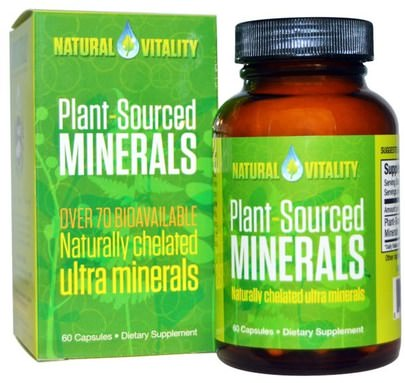 Suplementos, Minerales, Minerales Múltiples Natural Vitality, Plant-Sourced Minerals, 60 Capsules