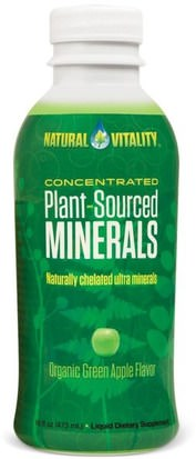 Suplementos, Minerales, Minerales Múltiples, Minerales Líquidos Natural Vitality, Plant-Sourced Minerals, Organic Green Apple Flavor, 16 fl oz (473 ml)
