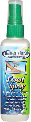 Baño, Belleza, Pies Cuidado De Los Pies, Desodorante Naturally Fresh, Deodorant Crystal, Foot Spray, 4 fl oz (120 ml)