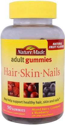 Salud, Mujeres, Suplementos Para El Cabello, Suplementos Para Uñas, Suplementos Para La Piel Nature Made, Adult Gummies, Hair, Skin and Nails, Mixed Berry, Cranberry & Blueberry, 90 Gummies